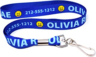 Custom Royal Blue Lanyard, Personalized with Emojis by Hot-Dog-Collars. One 20 Inch ID Badge Lanyard