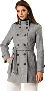 Allegra K Women's Stand Collar Double Breasted Pockets Trendy Outwear Winter Coat with Belt