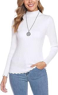 Women's Long Sleeve Solid Mock Turtleneck Sweater Slim Layer Tops Pullover