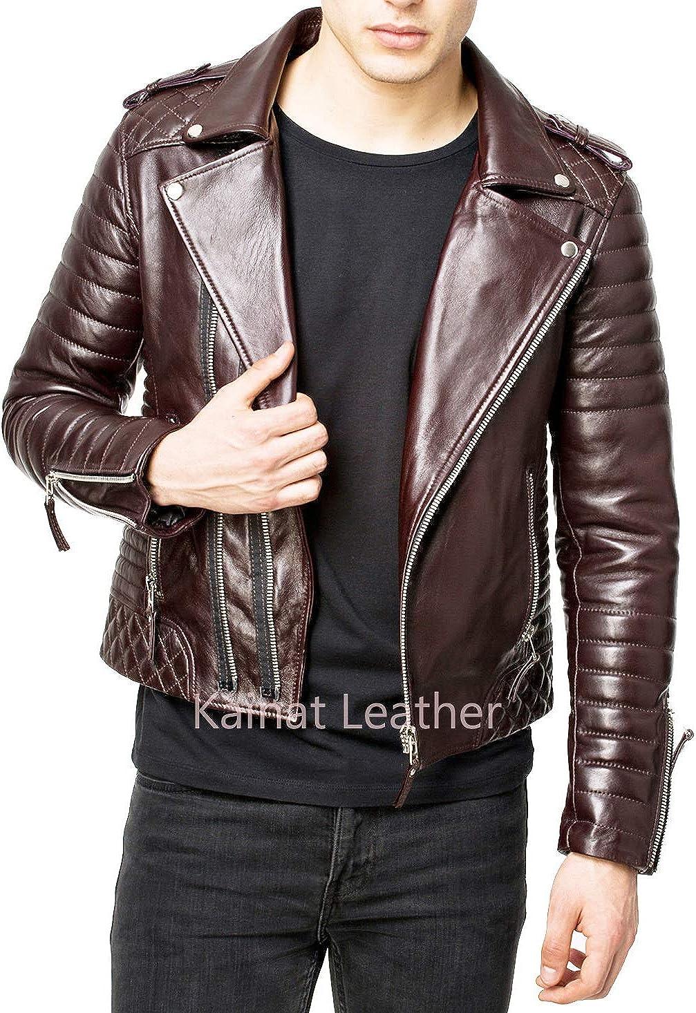 Men's Leather Jacket Motorcycle Bomber Biker Genuine Lambskin Leather 56
