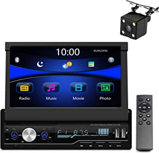 Regetek Single Din Car Stereo 7 inch Bluetooth Car Audio Video Player RDS FM AM Car Radio Player USB/AUX/TF HD Telescopic Retractable Capacitive Touch Screen+ Rearview Camera