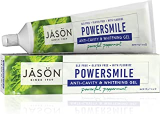 JASON Powersmile Anti-Cavity & Whitening Gel, Powerful Peppermint, 6 Ounce Tube