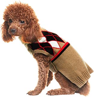 PUPTECK Dog Sweater Rhombus Pattern Pet Festive Coat Puppy Winter Clothes Cream