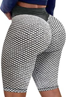 High Waisted Yoga Shorts for Women Tummy Control Leggings Butt Lifting Textured Workout Shorts