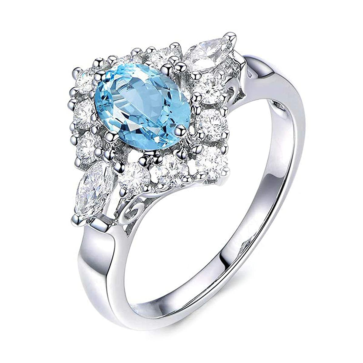 Bishilin s925 Sterling Silver Rings for Women Topaz Womens Rings 925 Sterling Silver Ring Engagement