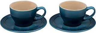 Le Creuset of America PG8000-056M Le Creuset Stoneware Set of 2 Cappuccino Cups and Saucers-Marine, 7 oz