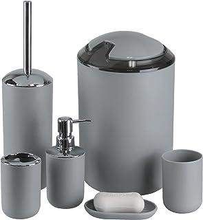 IMAVO Bathroom Accessories Set,6 Pcs Plastic Gift Set Toothbrush Holder,Toothbrush Cup,Soap Dispenser,Soap Dish,Toilet Brush Holder,Trash Can,Tumbler Straw Set Bathroom (Grey)