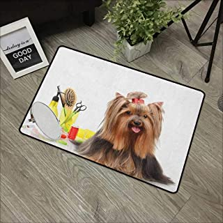 Interior door mat W19 x L31 INCH Yorkie,Yorkshire Terrier with Stylish Hairdressing Equipment Mirror Scissors, Dark Brown Multicolor Our bottom is non-slip and will not let the baby slip,Door Mat Carp