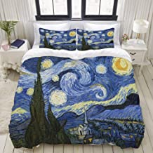 HKIDOYH Duvet Cover Set,Starry Night Van Gogh Oil Painting,Polyester 3 Piece Bedding Set with 2 Pillow Cases,Queen