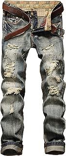 NITAGUT Men's Ripped Slim Fit Tapered Leg Jeans