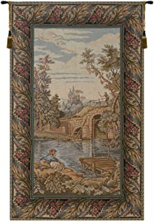 Charlotte Home Furnishings Inc. Fishing at The Lake, Vertical Italian Tapestry Wall Art