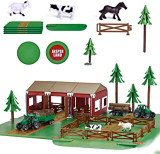 Farm Toys Set with Farm Animals and Tractor for Kids Gifts