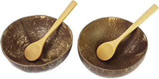Preminum Coconut Bowls with Spoons by BeeGreeny (Set of 2) – Polished With Coconut Oil - Handmade, Vegan, Natural, Eco Friendly, Reusable Bowl for Breakfast, Serving, Decoration, Party