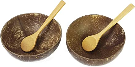 Preminum Coconut Bowls with Spoons by BeeGreeny (Set of 2) – Polished With Coconut Oil - Handmade, Vegan, Natural, Eco Fri...