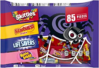 SKITTLES, STARBURST, LIFE SAVERS & HUBBA BUBBA Gum Halloween Candy Grab Bag, 85 Fun Size Pieces, 21.39 ounces