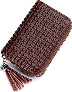 Leather Card Holder Case, RFID Blocking Purse with Tassel