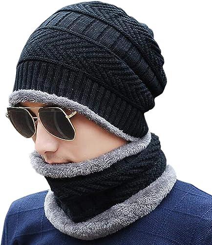 HIVER Handcuffs Winter Beanie Cap Scarf Set Warm Knit Cap Thick Fleece Lined Winter Hat & Scarf for Men Women