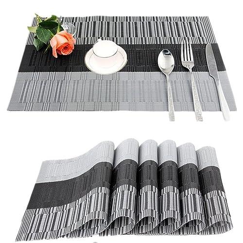 Fontic 30x45cm Set Of 6 Washable Table Place Mats PVC Placemats Non Slip