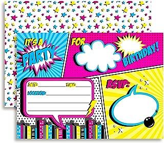 Super Hero Comic Book Birthday Party Invitations for Girls, 20 5