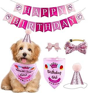 GAGILAND Dog Birthday Bandana Hat Banner Set Dog Boy Girl Cute Bow Tie Scarf Birthday Party Supplies Decorations