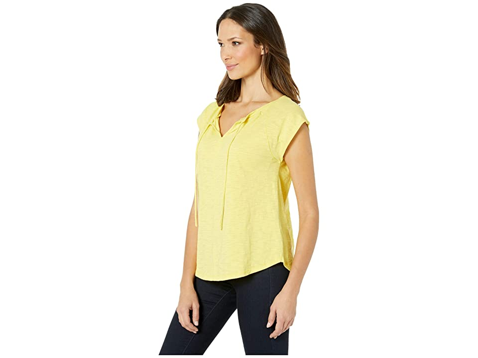 Lilla P Short Sleeve Split-Neck Loose Knit Slub Top (Lemongrass) Women's T Shirt, Yellow