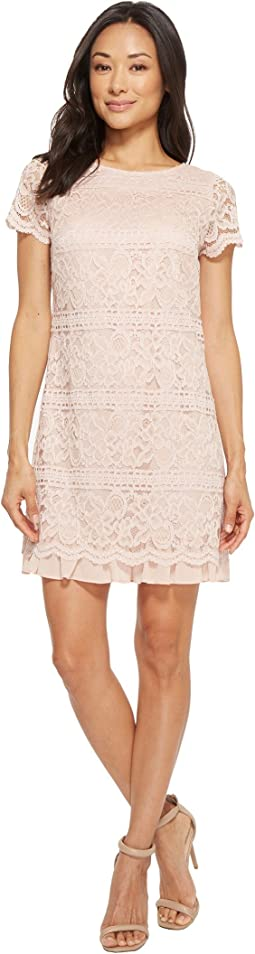 Lace Shift Dress with Chiffon At Trim