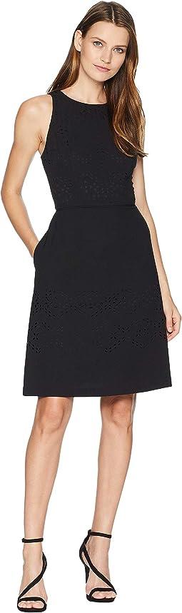 Lasercut Fit-and-Flare Dress