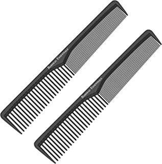 Styling Comb (2 Pack) | Professional 7 Inch Black Carbon Fiber Anti Static Chemical And Heat Resistant Comb For All Hair Types | Fine and Wide Tooth Comb For Men and Women | By Bardeau Essentials