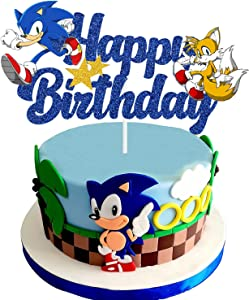 Blue Hedgehog Happy Birthday Cake Topper, Sonic Birthday Party Cake Decorations Supplies for Kids Birthday, the Hedgehog Cake Decor Glitter Double Sided Cake Topper