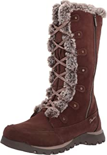 Skechers GRAND JAMS - Tall Lace Up Boot with Fur Trim and Warm Tech Memory Foam womens Mid Calf Boot