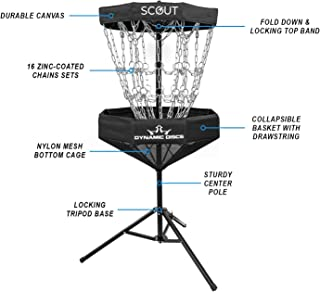 Dynamic Discs Scout Portable Disc Golf Basket | 8 Outer Chains, 8 Inner Chains, 2 Cross Sectional Chains Disc Golf Target ...