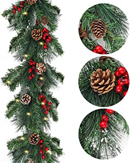 AGEOMET 8.2 Foot Christmas Garland with Red Berries Pine Cones 50 Clear Lights for Christmas Holiday Decor or Winter Party Decorations