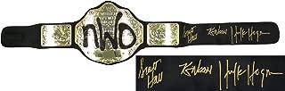 Hollywood Hulk Hogan, Kevin Nash & Scott Hall Triple Signed WWE NWO Championship Black Replica Belt - Autographed Wrestling Robes, Trunks and Belts