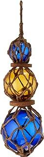 "Hampton Nautical 3xglass-101 Amber-Blue Japanese Ball Fishing Floats with Brown Netting Decoration 11""-Glass Buoy"