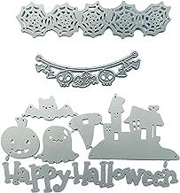 8 PCs Happy Halloween Metal Cutting Dies Set Ghost Pumpkin Skull House for DIY Scrapbook Album Paper Card Making Craft Decoration