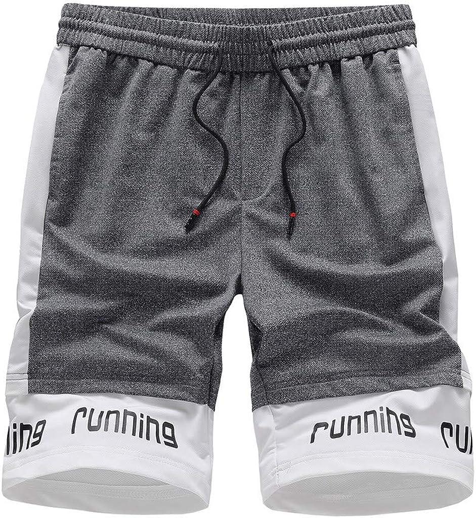 CieKen Mens Casual Classic Fit Shorts Pure Color Bandage Casual Loose Sweatpants Short Pants with Drawstring