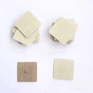 IVEI DIY Ply Wood Sheet Square Craft Magnet - Plain Plywood Fridge Magnet Blanks Cutouts - Set of 20-2 in X 2in X 3 mm Mag...