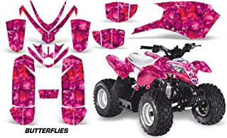 AMRRACING Polaris Outlaw 50 2005-2012 Full Custom ATV Graphics Decal Kit - Skulls and Butterflies Red Pink