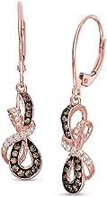 Brandy Diamondorables Chocolate Brown 18K Rose Gold Silver Infinity Ribbon Leverback Earrings 1.00 Ctw.