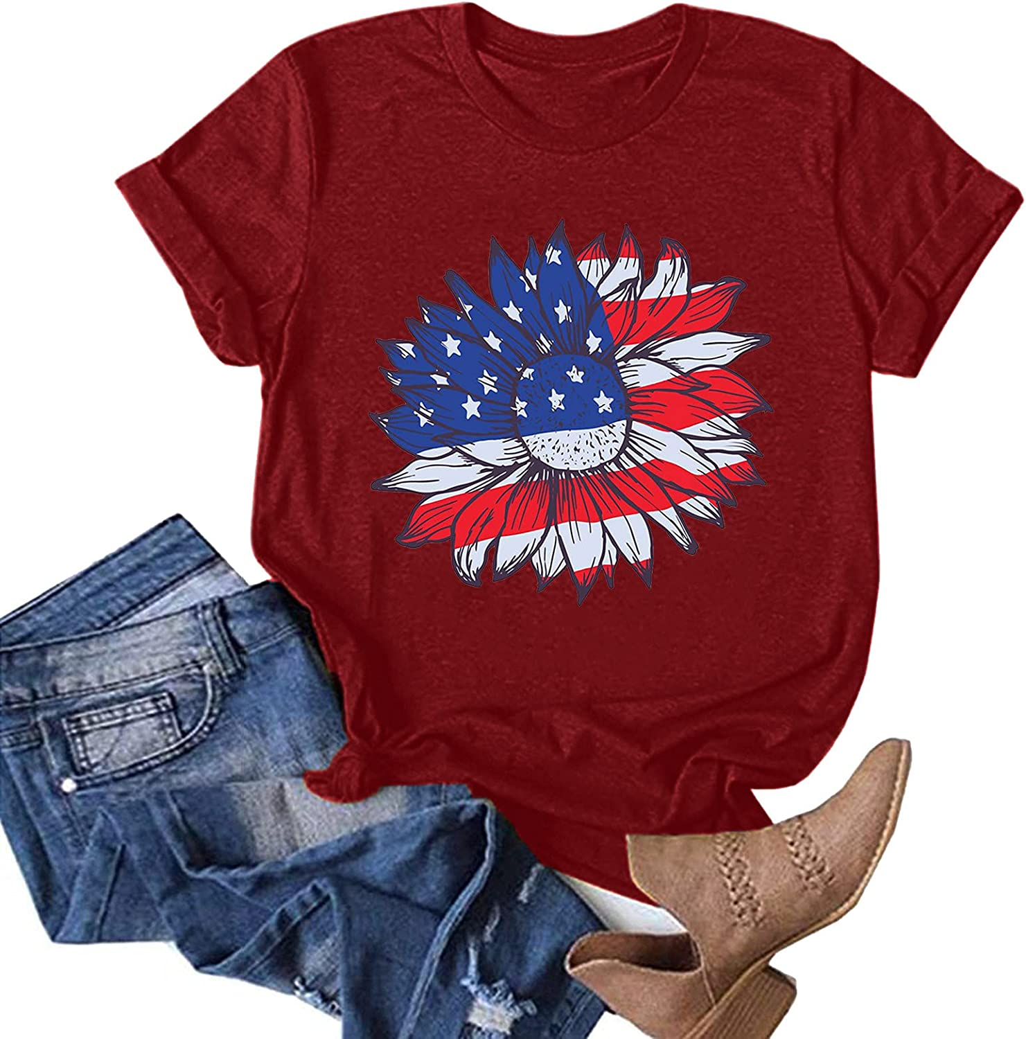 AODONG Short Sleeve Tops for Women, Womens Summer Casual Loose Fit Crewneck Graphic Tunics Tops Tees Shirts Blouses
