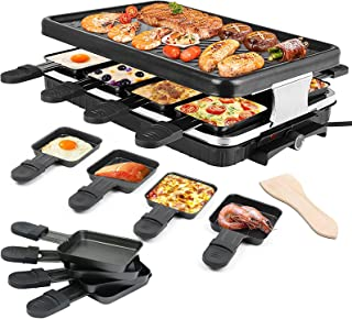 Errum 2-EN-1 Raclette Grill avec Plaque per 8 Persone 1300W Electric Raclette Grill Appareil à Raclette Barbecue Electriqu...