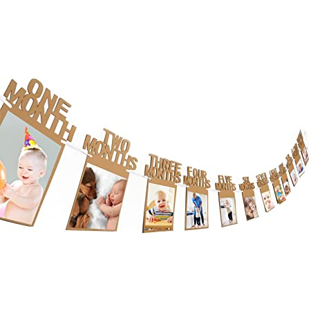 Amazon Com Bememo 1st Birthday Baby Photo Banner For Newborn 12 Month Photo Prop Monthly Milestone Bunting Garland First Birthday Party Decoration Toys Games