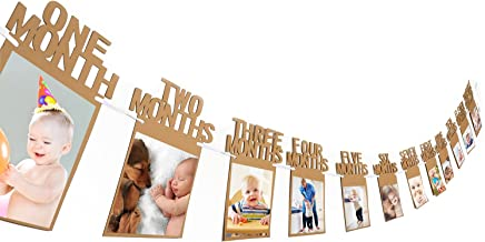 Bememo 1st Birthday Bunting Garland Baby Photo Banner Baby 1-12 Month Photo Prop Party Bunting Decor Thickened Kraft Card Paper