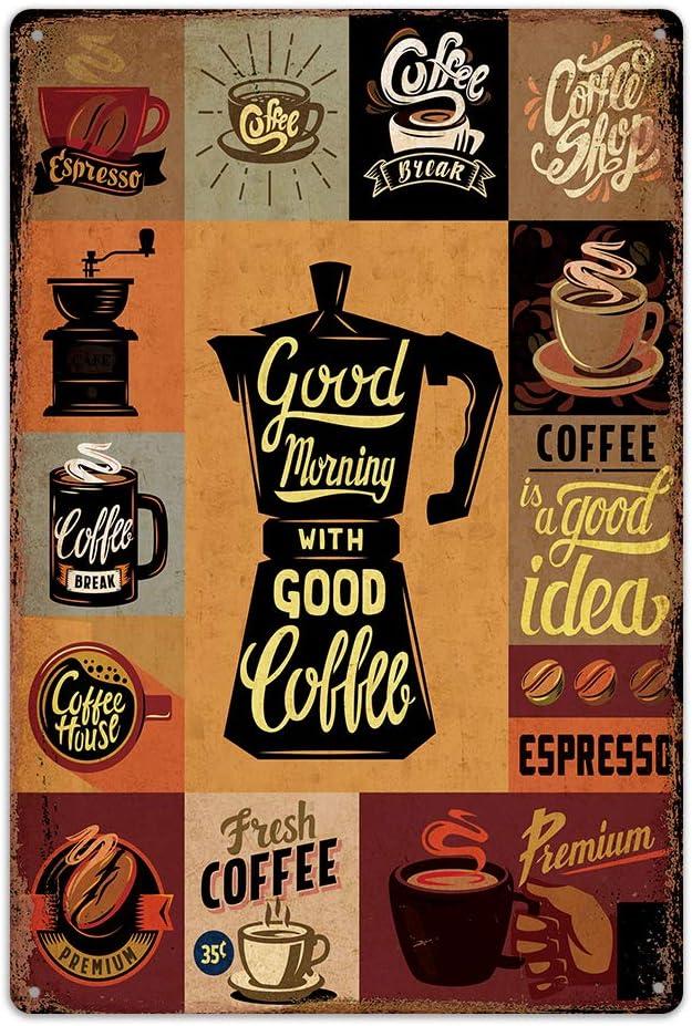[ Good Morning with Good Coffee ] Metal Iron Tin Sign Retro Clas