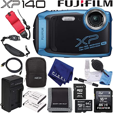 $238 Get FujifilmFinePix XP140 Waterproof Digital Camera (Sky Blue) 600020656 Advanced Accessory Bundle Includes 64GB Memory Card, Extra Battery, Battery Charger, and Floating Wrist Strap