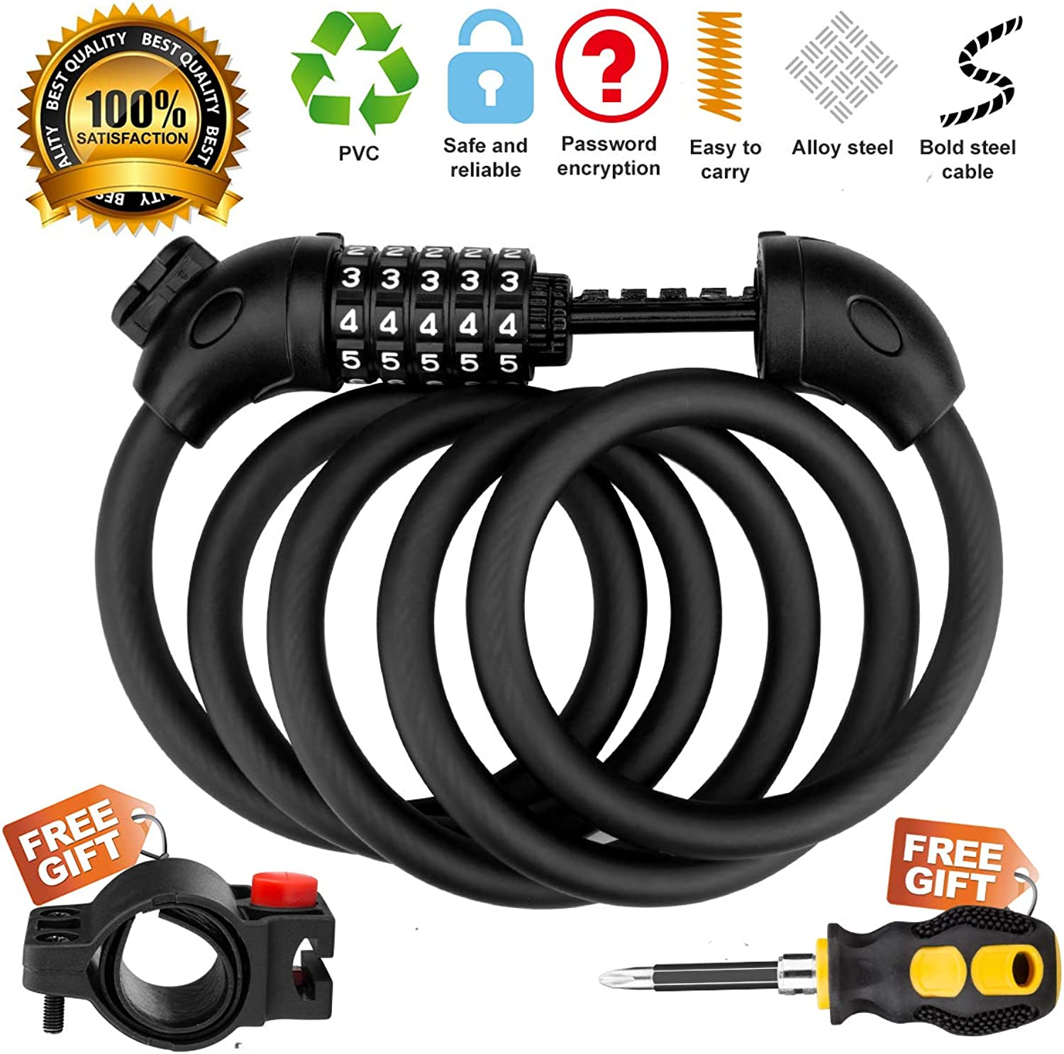 Jade Cloud Bike Lock Cable 4.9 Feet Bike Cable Basic Self Coiling Resettable 5Digit Combination with Complimentary Mounting Bracke and a Screwdriver for Installing The Lock