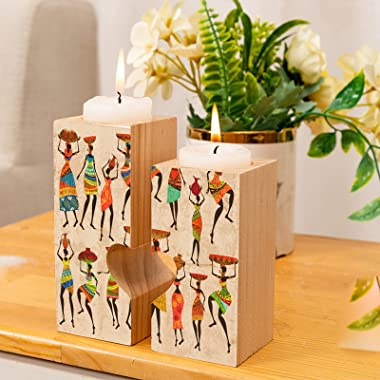 Wooden Tealight Candle Holder Centerpiece African Women Ethnic Vintage Wood Candle Holders for Table, Set of 2 Vintage Candle