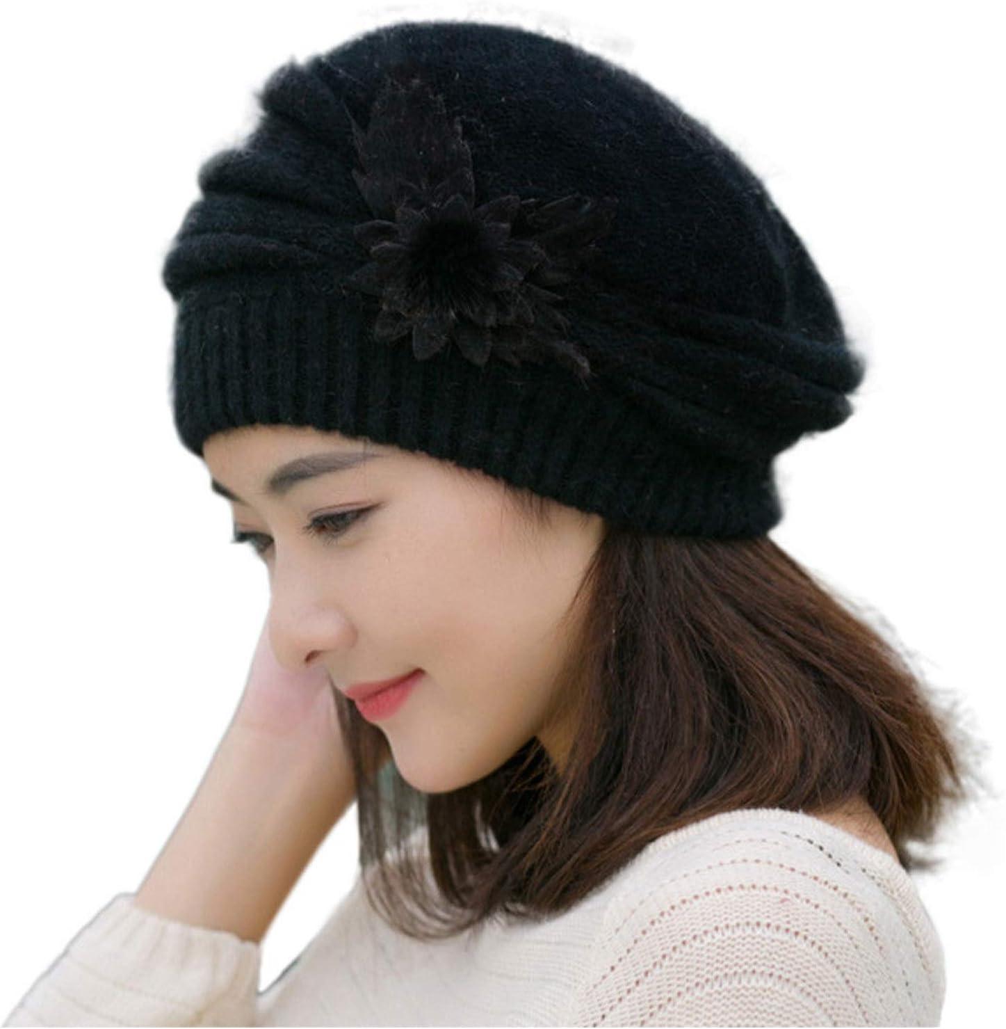 Evangelia.YM Womens Beanies Hat Caps Pure Color Flower Applique Woolen Knitted Crochet Warmer Head Wraps Beret Caps