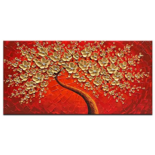 7c9778e7ef23 Okbonn-100% Hand Painted 3D Oil Painting On Canvas Gold and Red Flowers Wall