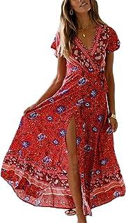 b3f26bf62 Amazon.fr : robe longue boheme - Rouge / Femme : Mode